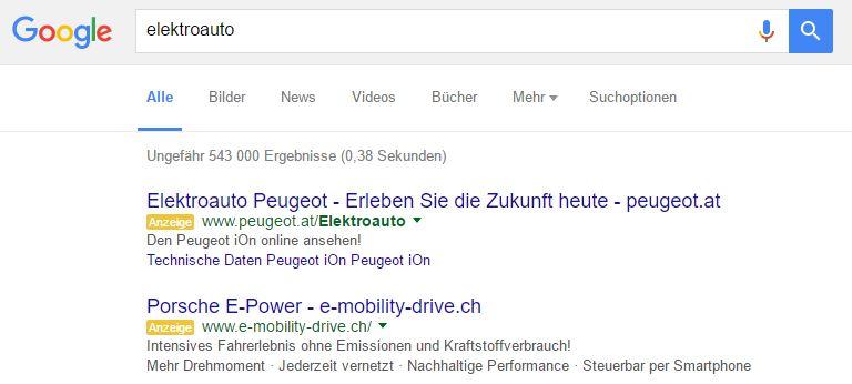 Google Adwords Anzeigen Suche Elektroauto