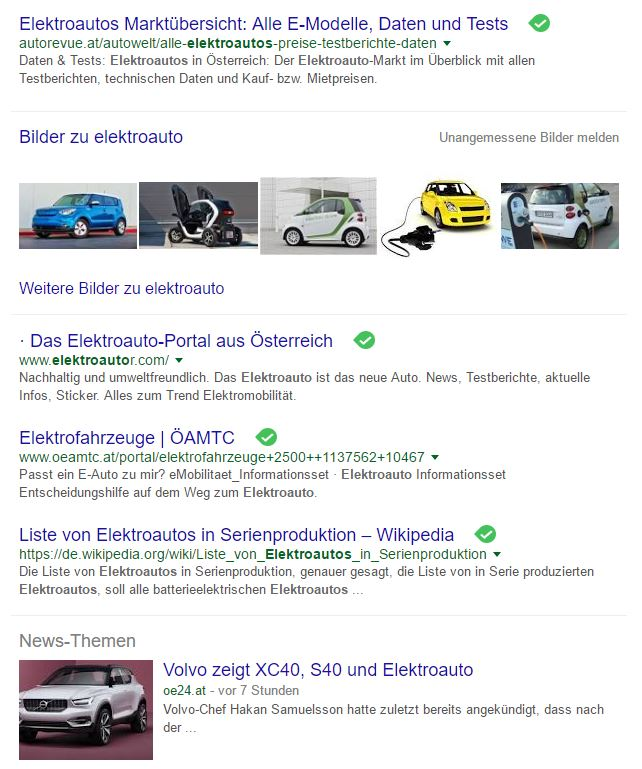 Google SERPS Suche Elektroauto im Mai 2016