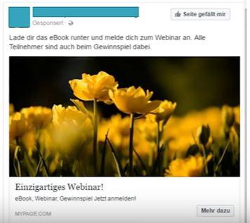 schlechtes Beispiel einer Facebook Werbeanzeige